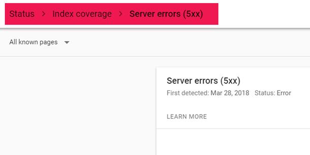 Index Coverage Server Error 5xx
