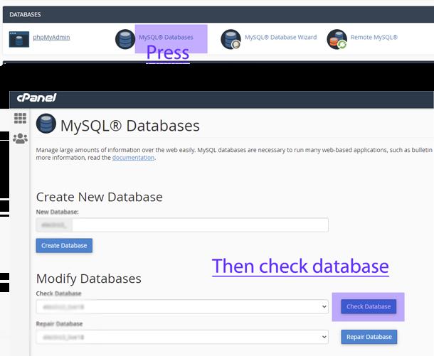 MySQL Databases check