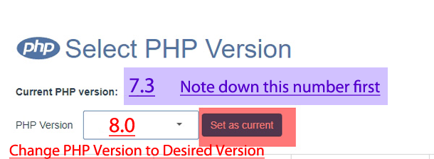 PHP version selection option Crazy Domains Web Hosting Account