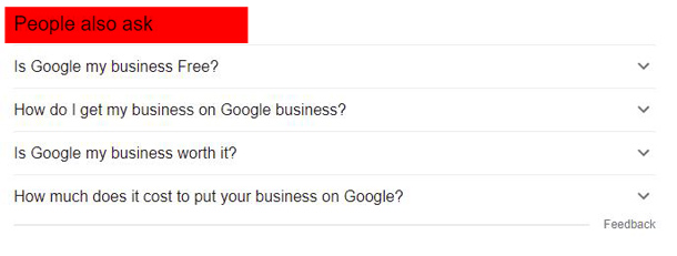 People also ask search feature of Google
