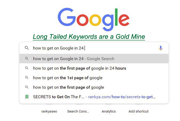 Search Suggestions for How to Get on the First Page of Google in 24 Hours