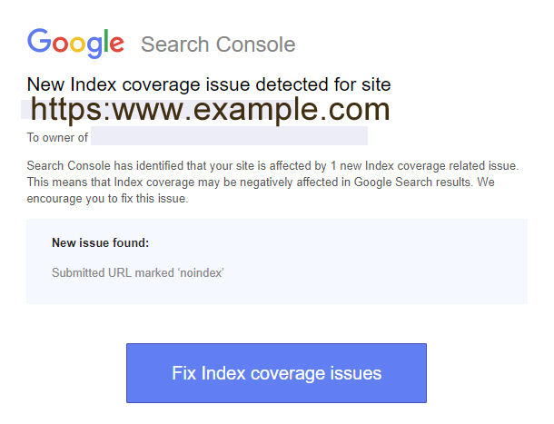 Search Console Index Coverage Issue Message Screenshot
