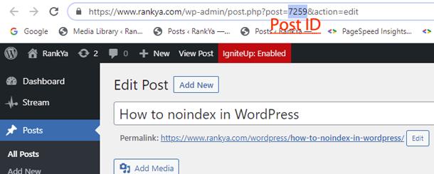 Shows WordPress Post ID in Browser Address Bar
