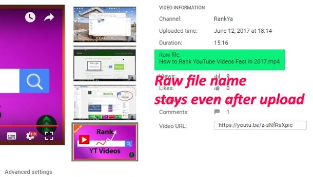 YouTube video raw file name