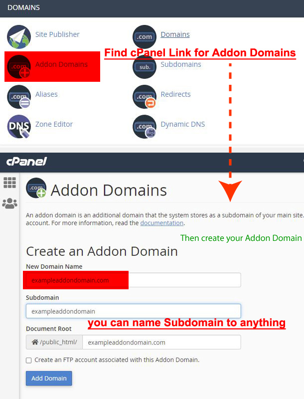 cPanel Addon Domain option link and settings