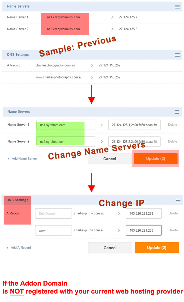 cPanel required change for Addon Domain DNS A Record and IP change
