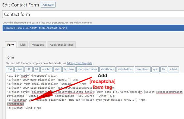 contact form 7 recaptcha form tag