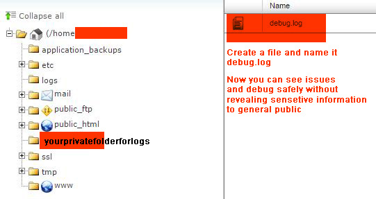 Create a Debug Folder above public_html
