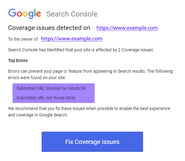 email message from Google Search Console