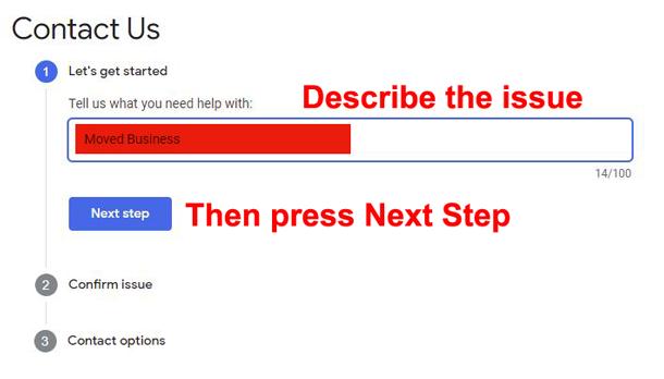 google my business help describe contact reason