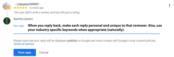 google my business review reply option