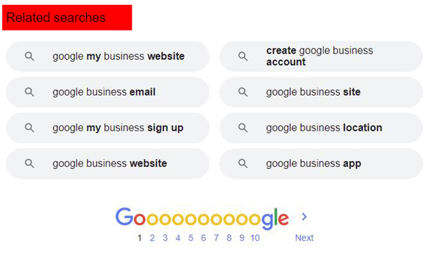 related searches feature of Google