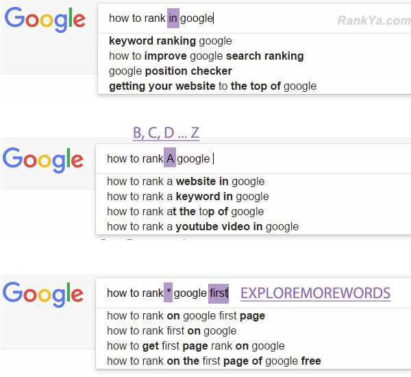 sample Google Search Query examples