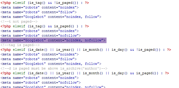 sample PHP condition for setting noindex in WordPress header php