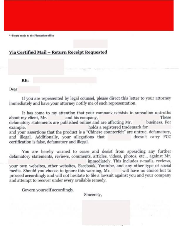 sample letter for defamation notice
