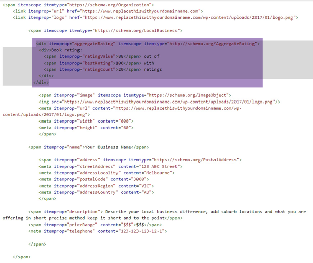 schema markup microdata example with review markup