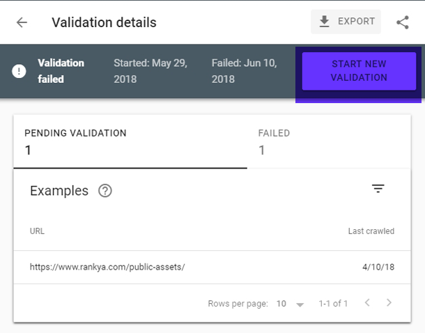search console index coverage issue validation