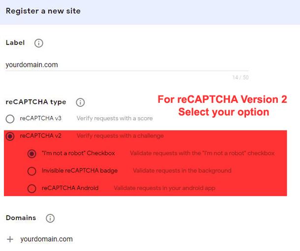 user interface for google recaptcha admin for recaptcha v2