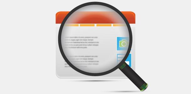 web site icon magnification glass
