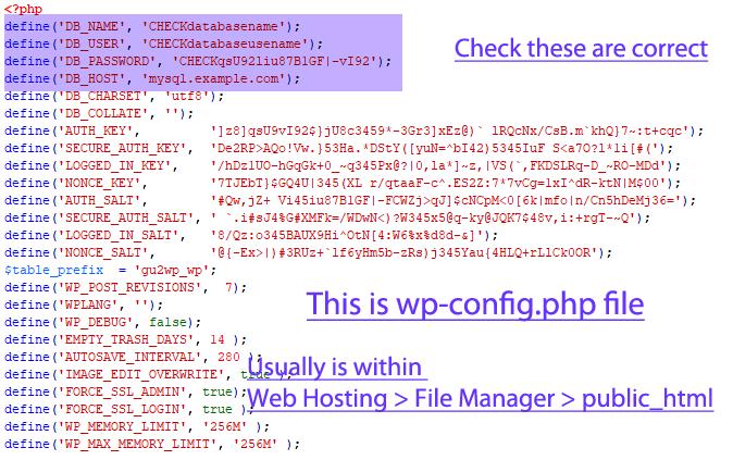 wp config php file WordPress database settings