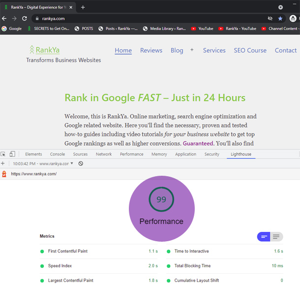 Lighthouse report for new rankya website load performance