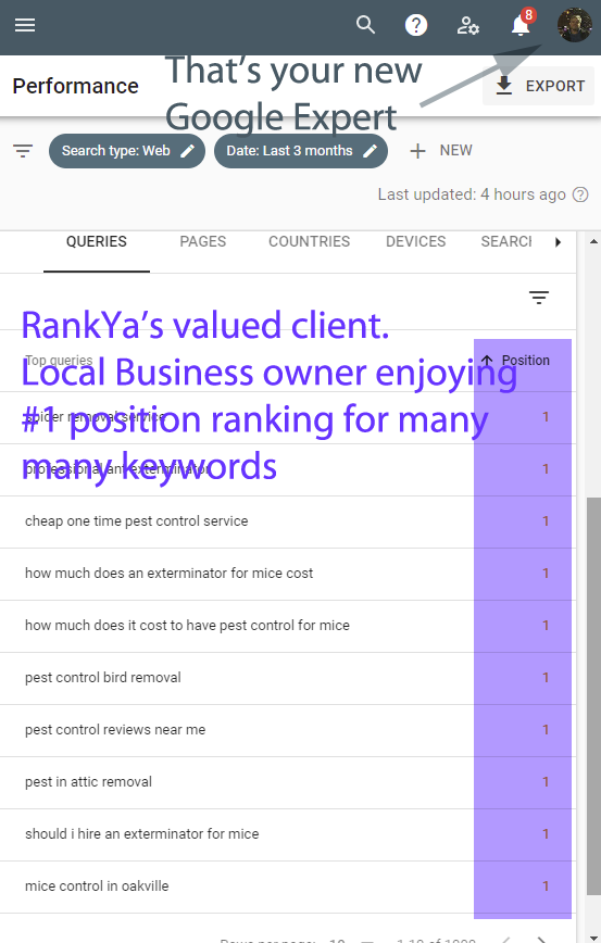 Example Google Search Console Queries Performance Report